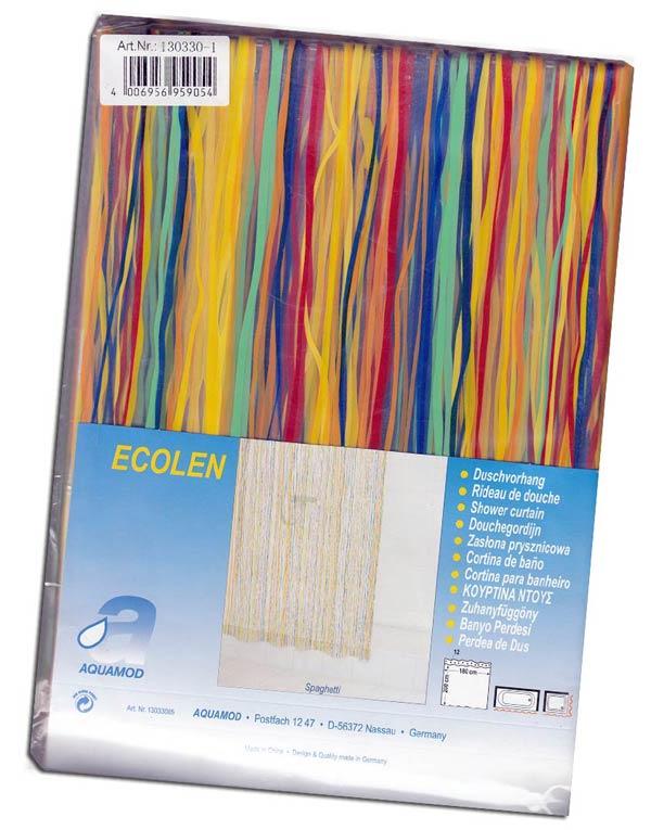 1 duschvorhang spaghetti transparent mit bunten spaghetti streifen ebay. Black Bedroom Furniture Sets. Home Design Ideas