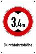 Durchfahrtshöhe / -Breite #Schild -702#- Durchfahrtshoehe 3,4m