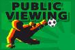 Gastronomie Public Viewing #Schild -169#- kickt Ball