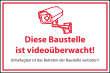 Videoüberwachung #Schild -60#- Baustelle